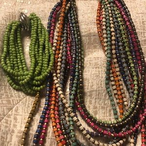 Chico's Layered Multicolored Necklace, Bracelet